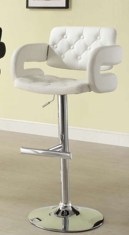 1178WHT Ride Airlift Swivel Stool - White - Homelegance