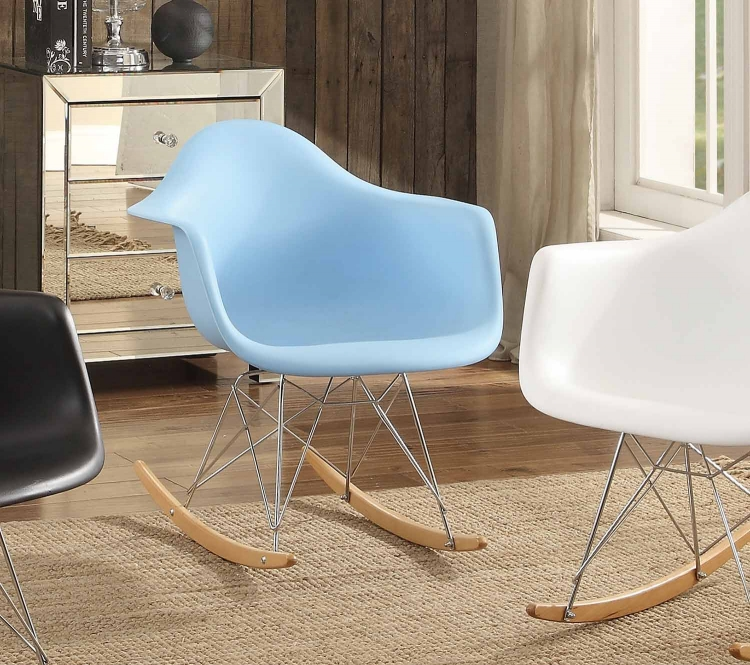 Thea Cradle Chair - Blue with Maple Finish Rocker