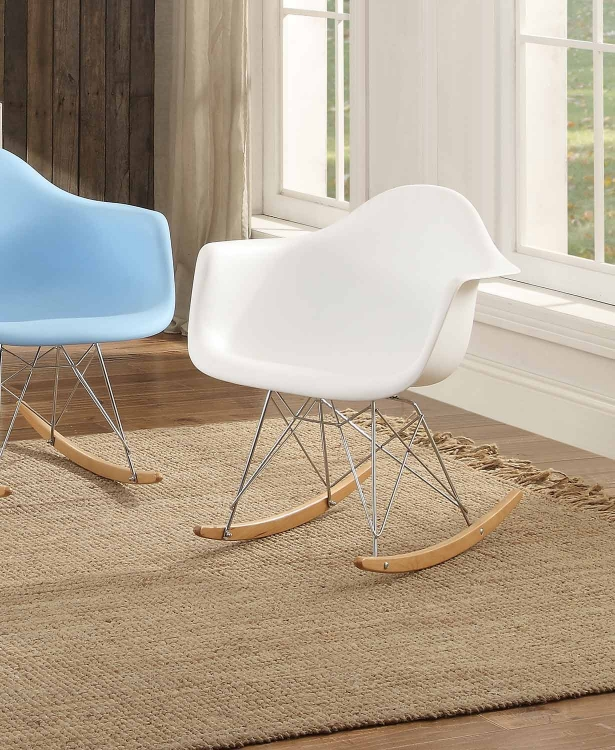 Thea Cradle Chair - White with Maple Finish Rocker