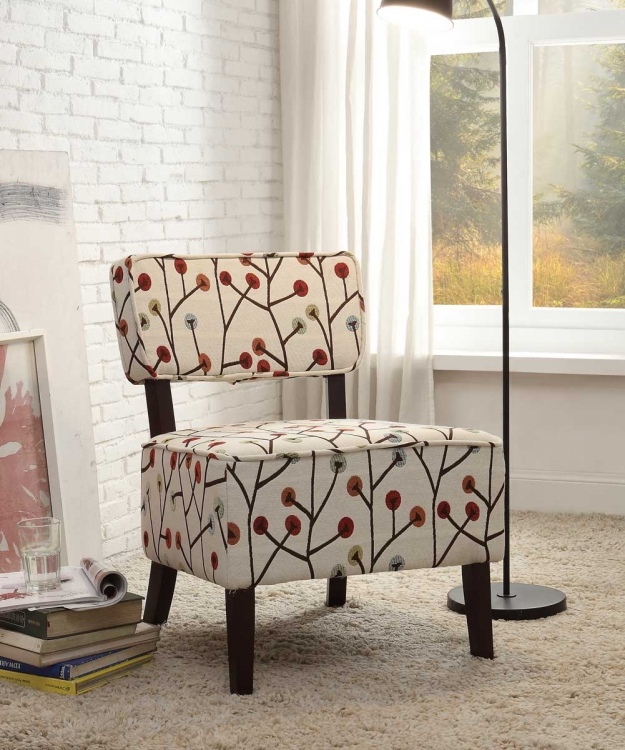 Orson Accent Chair - Colored Poppies Fabric