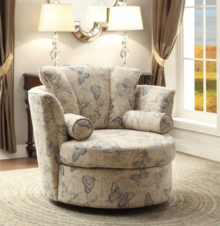 Aurelia Swivel Accent Chair with 2 Pillows - Butterfly Print