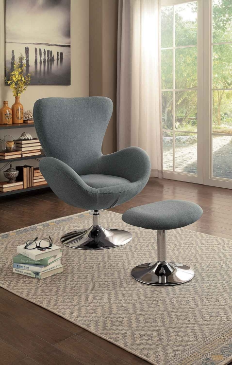Thrive Swivel Chair and Ottoman - Gray Fabric