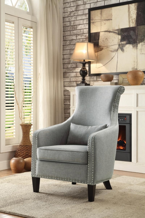 Arles Accent Chair with 1 Kidney Pillow - Grey