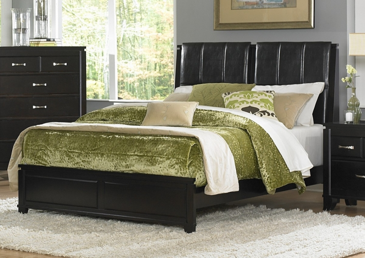 Twin Falls Bed with Leatherette Headboard - Homelegance