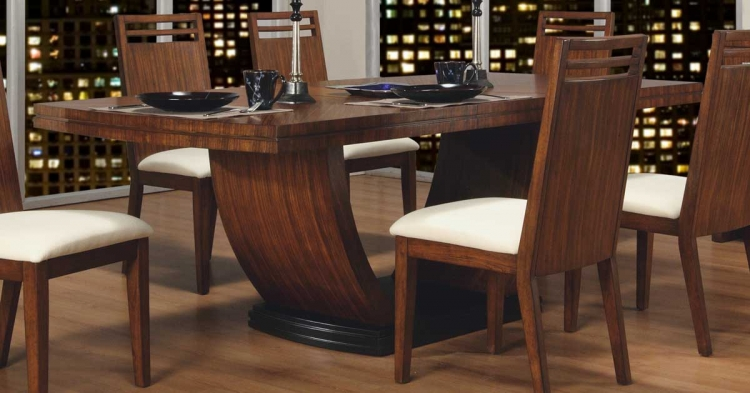 Zebrano Pedestal Dining Table