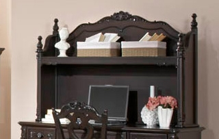 Homelegance Cinderella Writing Desk Hutch - Dark Cherry