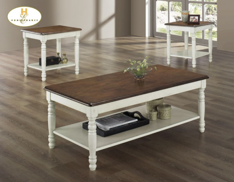 Ohana 3pc Cocktail Table - White - Homelegance