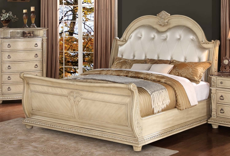 Palace II Upholstered Bed - Antique White