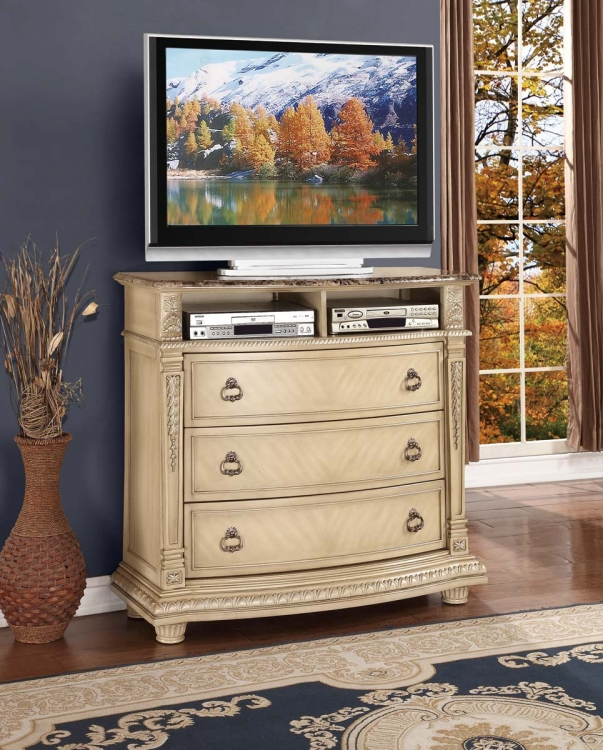 Palace II Marble Top TV Chest - Antique White