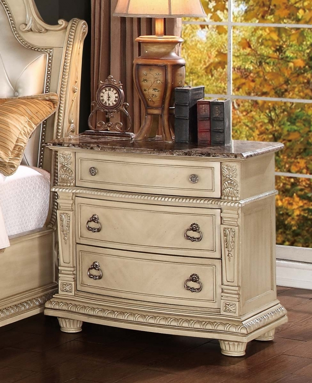 Palace II Marble Top Nightstand - Antique White