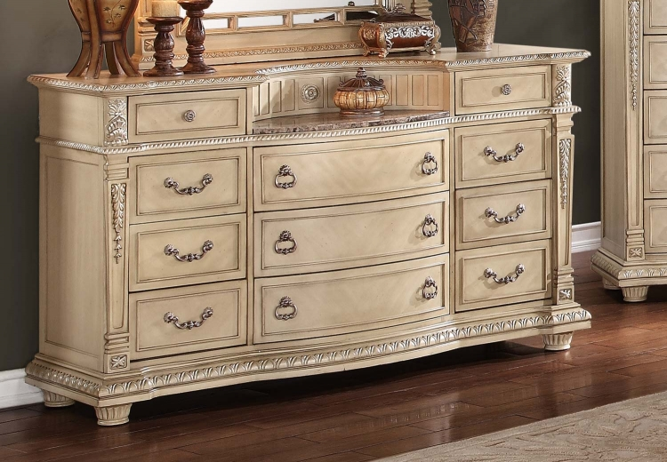 Palace II Marble Top Dresser - Antique White