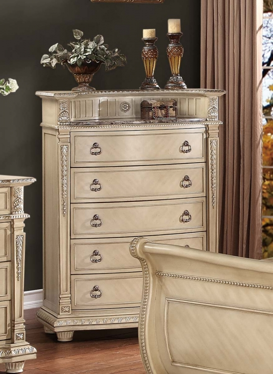 Palace II Marble Top Chest - Antique White