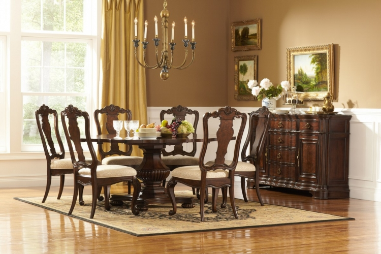 Perry Hall Pedestal Dining Set - Homelegance