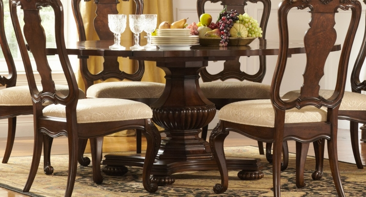 Perry Hall Pedestal Dining Table with Drop Leaf