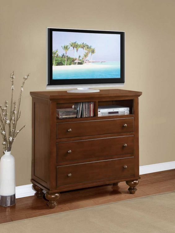 Aris TV Chest - Warm Brown Cherry - Homelegance