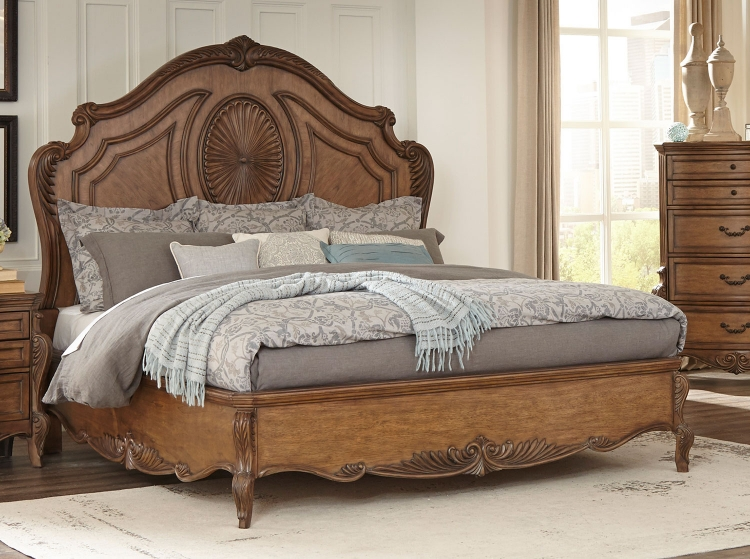 Moorewood Park Low Profile Bed - Pecan