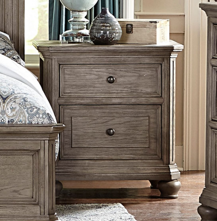 Lavonia Night Stand with Power Ports - Wire-brushed Gray