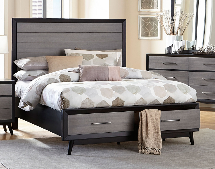 Raku Storage Platform Bed - Barnwood Grey