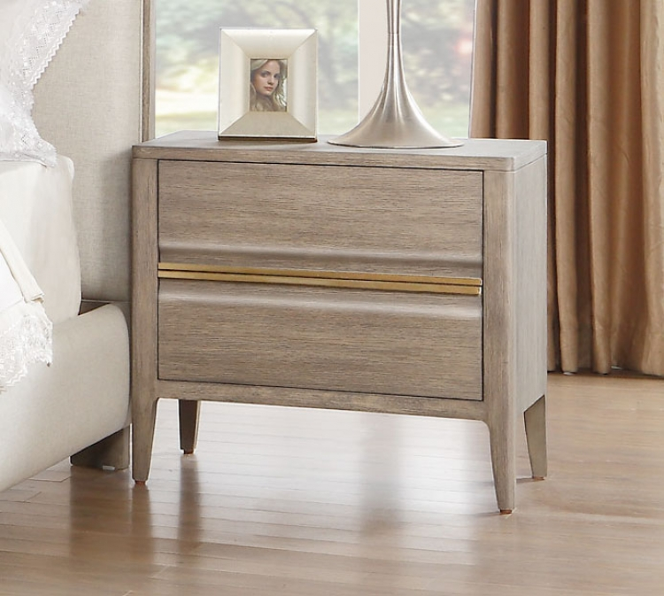 Aristide Night Stand - Gold and Weathered Grey