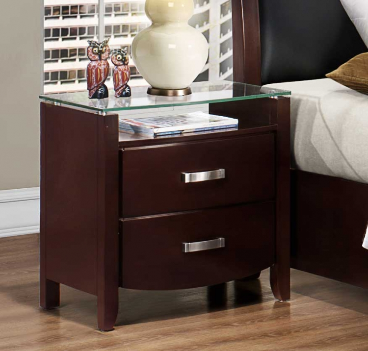 Lyric Night Stand - Glass Top - Dark Espresso - Homelegance