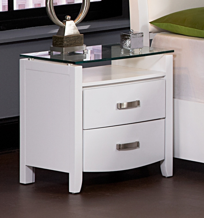 Lyric Night Stand with Tempered Glass Top - Homelegance