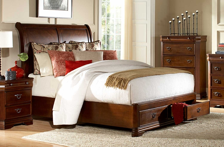 Karla Platform Bed - Brown Cherry