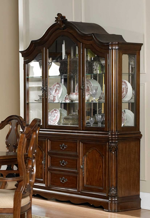 Montvail China Cabinet - Warm Brown - Homelegance