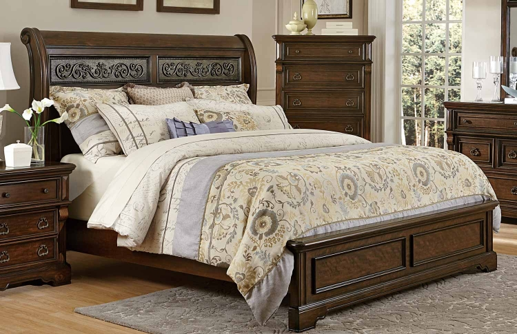 Calloway Park Bed - Warm Cherry