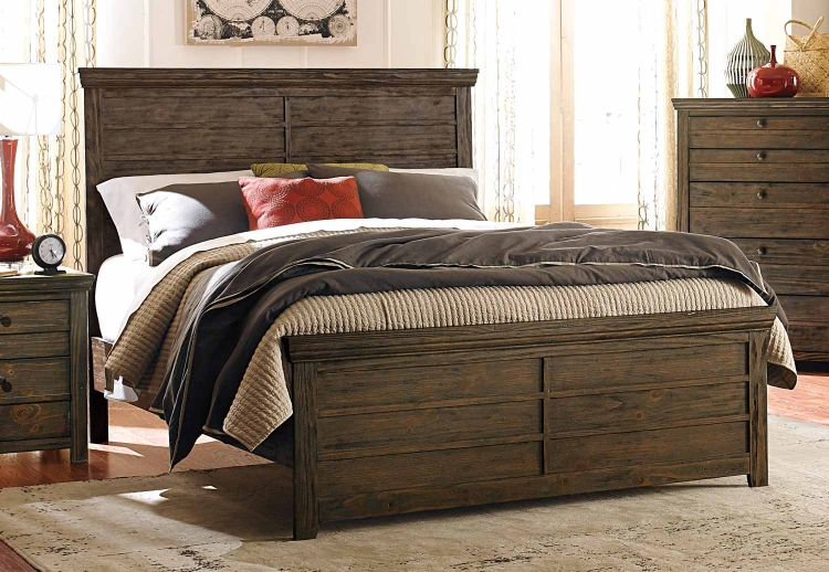 Hardwin Bed - Weathered Grey Rustic Brown