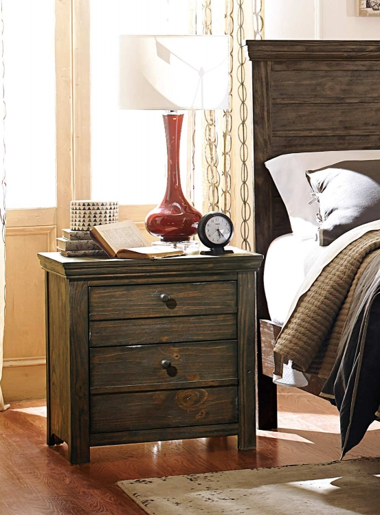 Hardwin Night Stand - Weathered Grey Rustic Brown
