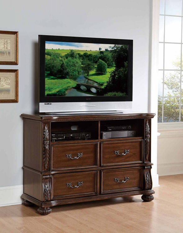 Augustine Court TV Chest - Rich Brown Cherry
