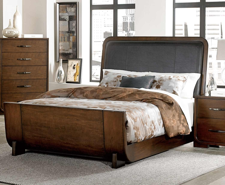 Minato Upholstered Bed - Brown Cherry