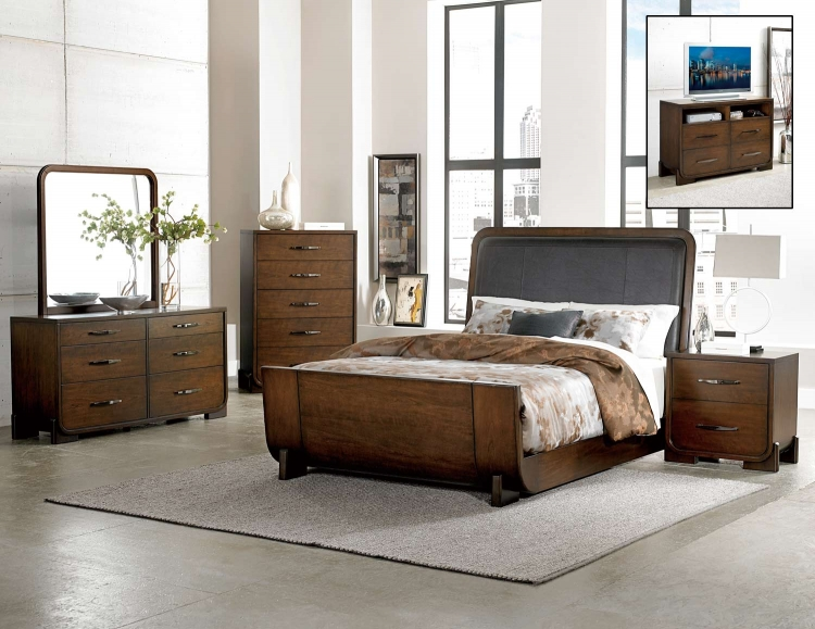 Minato Bedroom Set - Brown Cherry