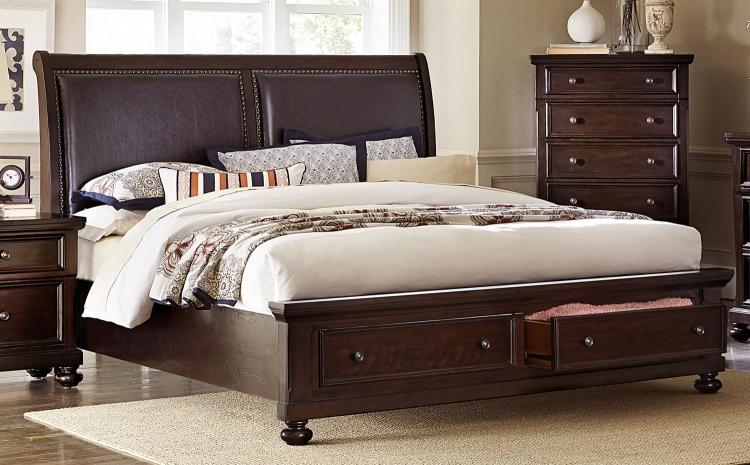 Faust Upholstered Sleigh Platform Storage Bed - Dark Cherry