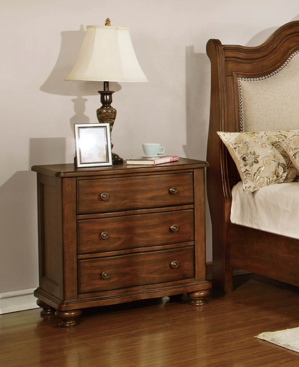 Davina Night Stand - Brown Cherry