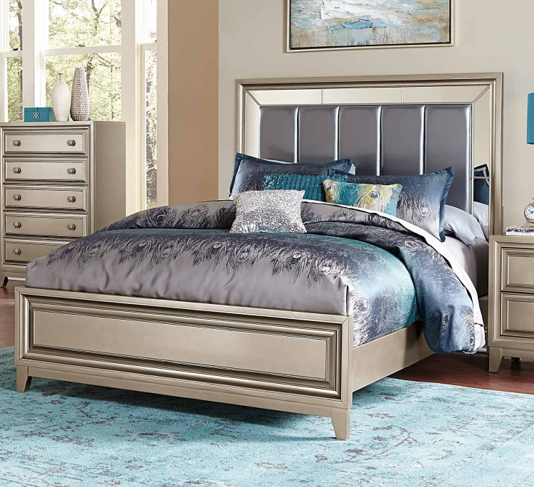 Hedy Upholstered Bed - Silver