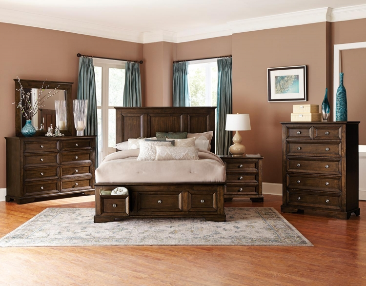 Eunice Platform Storage Bedroom Set - Espresso