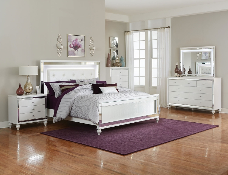 Alonza Bedroom Set with LED Lighting - Brilliant White