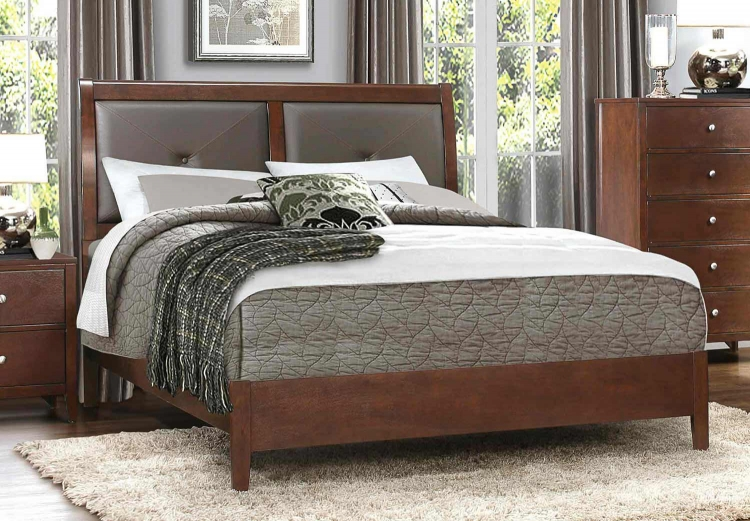 Cullen Upholstered Bed - Brown Cherry