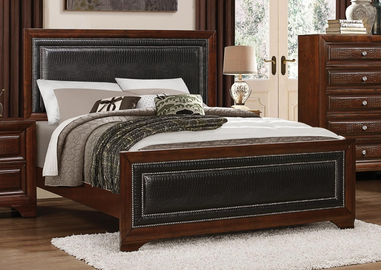Owens Panel Bed - Warm Cherry