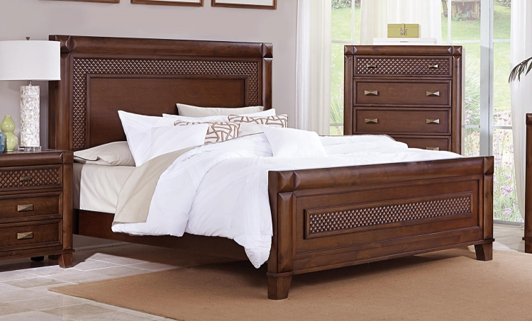 Nealon Panel Bed - Warm Cherry