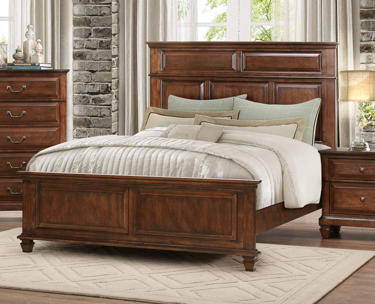 Bardwell Panel Bed - Brown Cherry