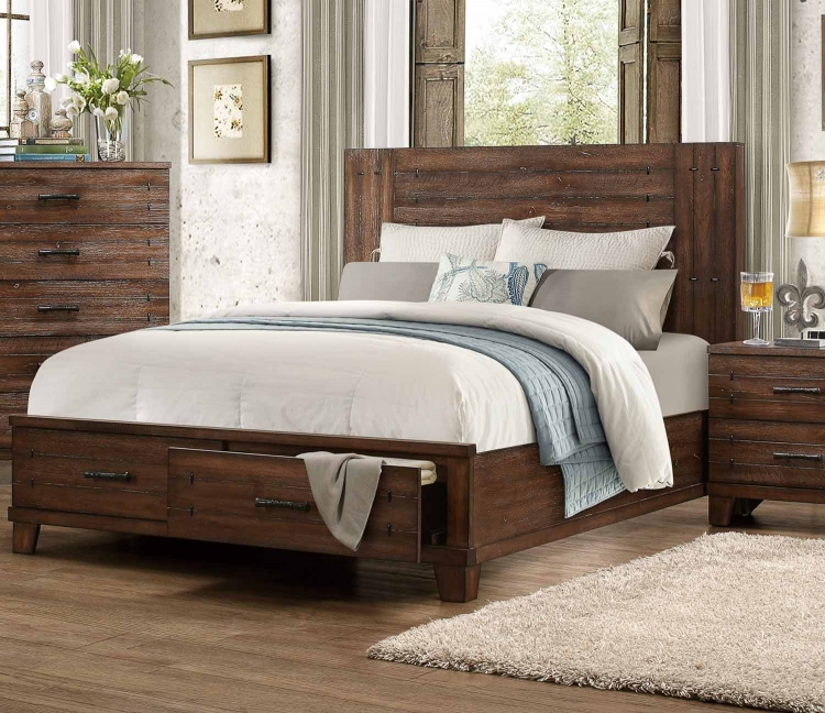 Brazoria Bed - Distressed Natural Wood