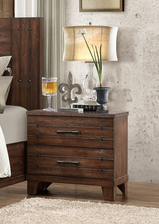 Brazoria Night Stand - Distressed Natural Wood