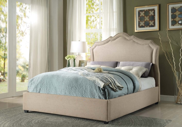 Delphine Upholstered Bed - Light Brown