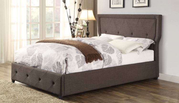 Thain Upholstered Bed - Dark Grey
