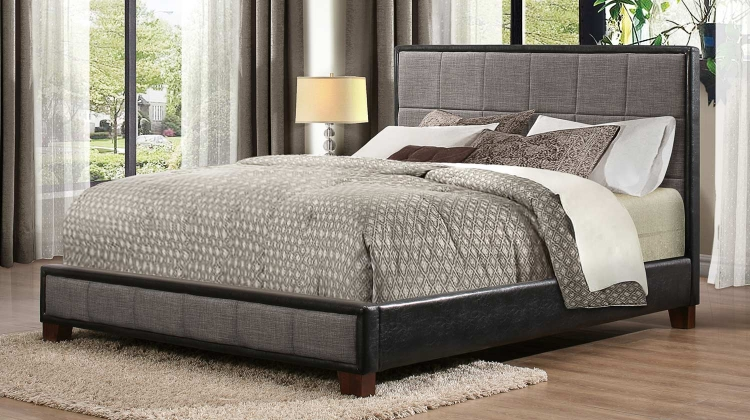 Quinton Upholstered Platform Bed - Grey & Black Bi-Cast Vinyl
