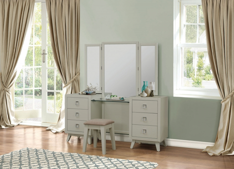 Valpico Vanity Dresser with Mirror - Cool Grey/Olive Undertone