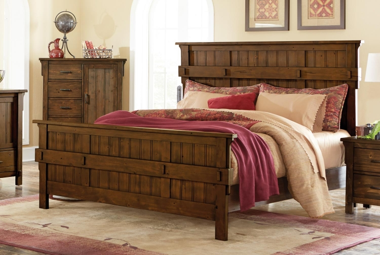 Terrace Panel Bed - Rustic Burnish Oak