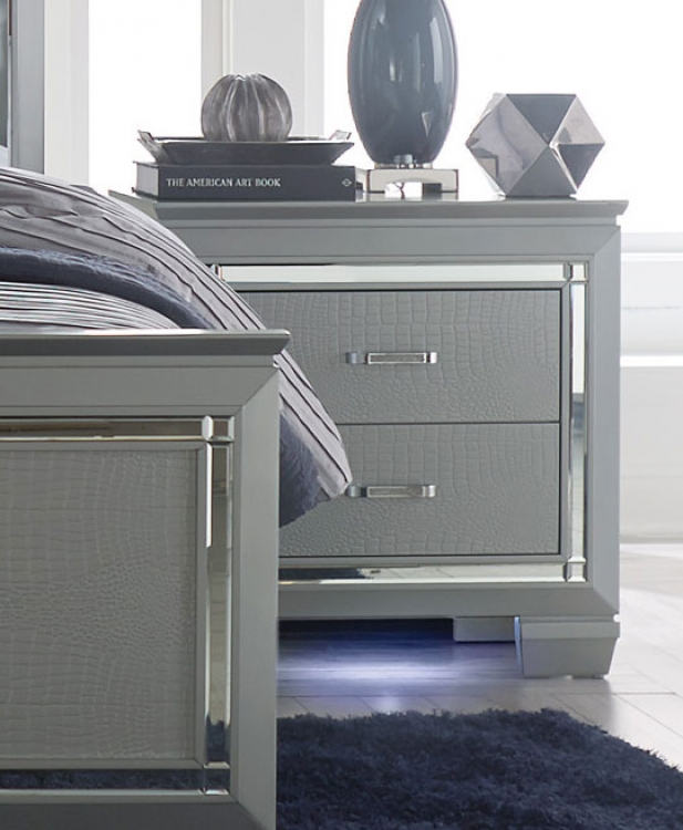 Allura Night Stand with LED Lighting - Silver